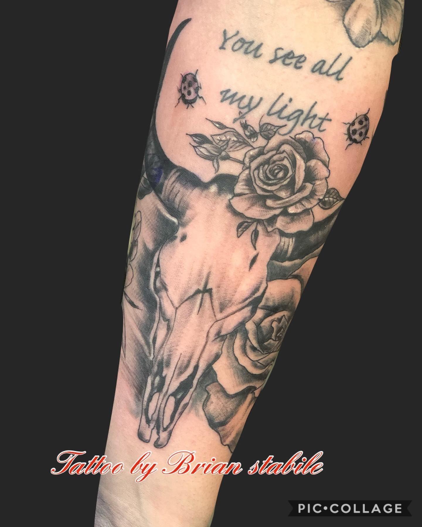 Tattoo By Brian Stabile1975 Ftmyerstattoo Tattoo Tattoos Armtattoo Ftmyerstattoo Brianstabile Tattooa In 2020 Bull Skull Tattoos Black And Grey Tattoos Tattoos