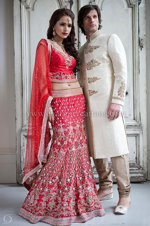 Red raw silk 12 panel pearl wedding lehenga with antique gold ...
