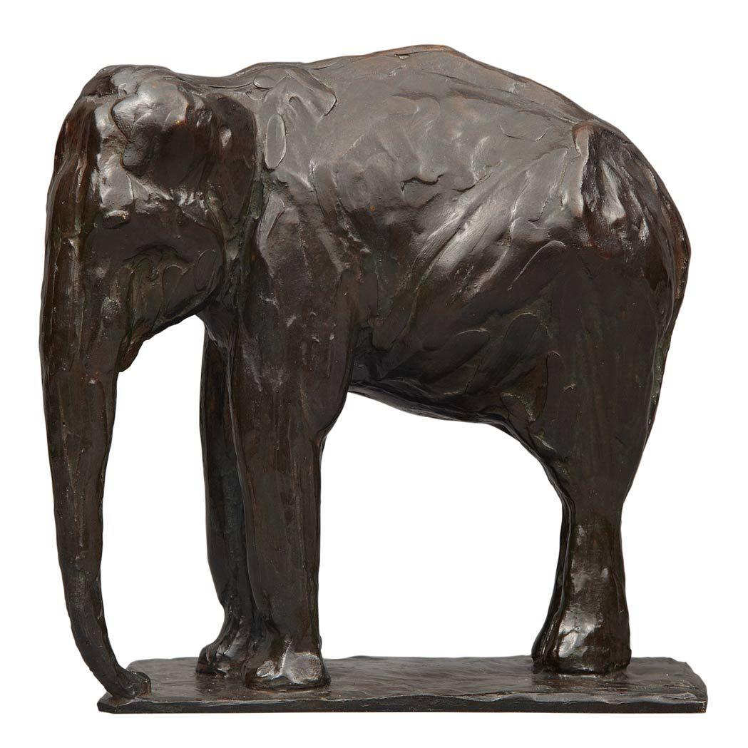 "Rembrandt Bugatti (Italian 1884 - 1916), A. A. Hébrard, ""Petit Elephant au Repos"", Patinated Cire Perdue Bronze, 1913. (Enlarge)"