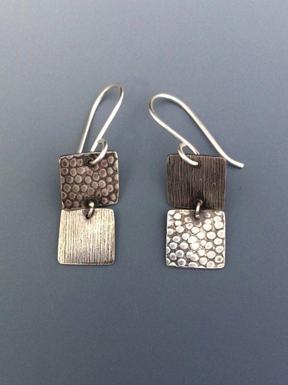 Minimalist Square Dangle Earrings  Textured Sterling Silver  Simple Contemporary Design Geometric Minimalist Square Dangle Earrings  Textured Sterling Silver  Simple Cont...