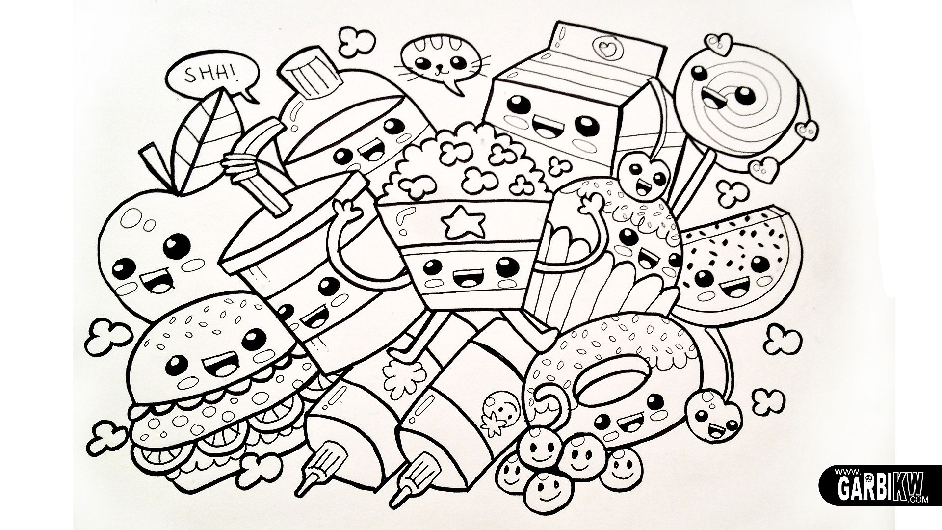 Kawaii Chibi Dancing Food Black White Line Drawing Desenhos