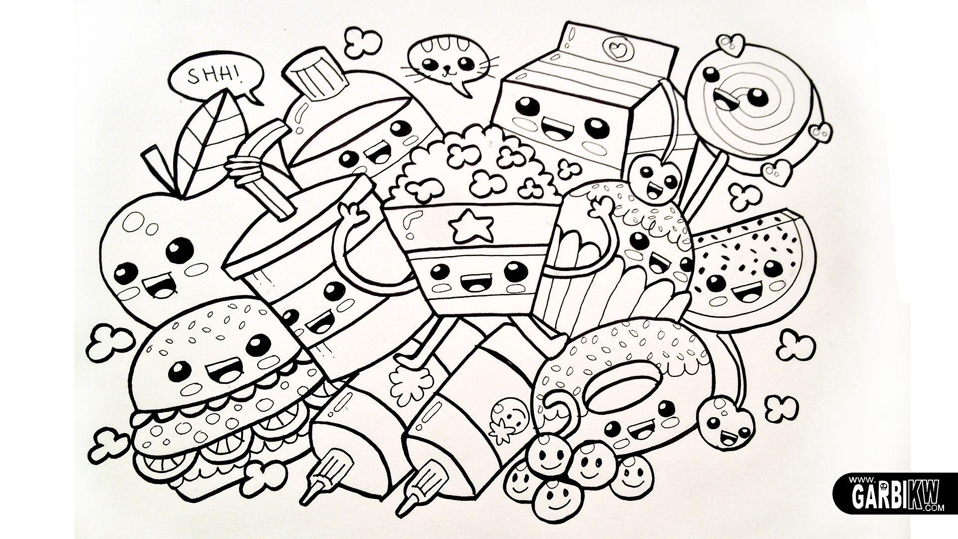 Kawaii chibi dancing food, black & white, line drawing