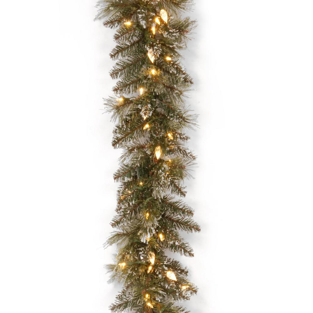 9 Ft Glittery Bristle Pine Garland With Warm White Led Lights Gb3 319 9a 1 The Home Depot Pre Lit Garland Outdoor Christmas Garland Pine Garland