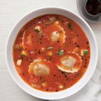 Ravioli soup. Use veggie broth, not chicken.