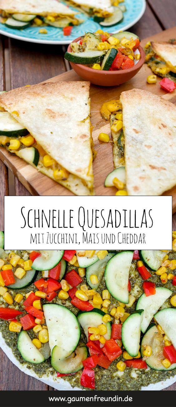 Schnelle Quesadillas mit Pesto, Cheddar, Zucchini und Mais #vegetarischerezepteschnell