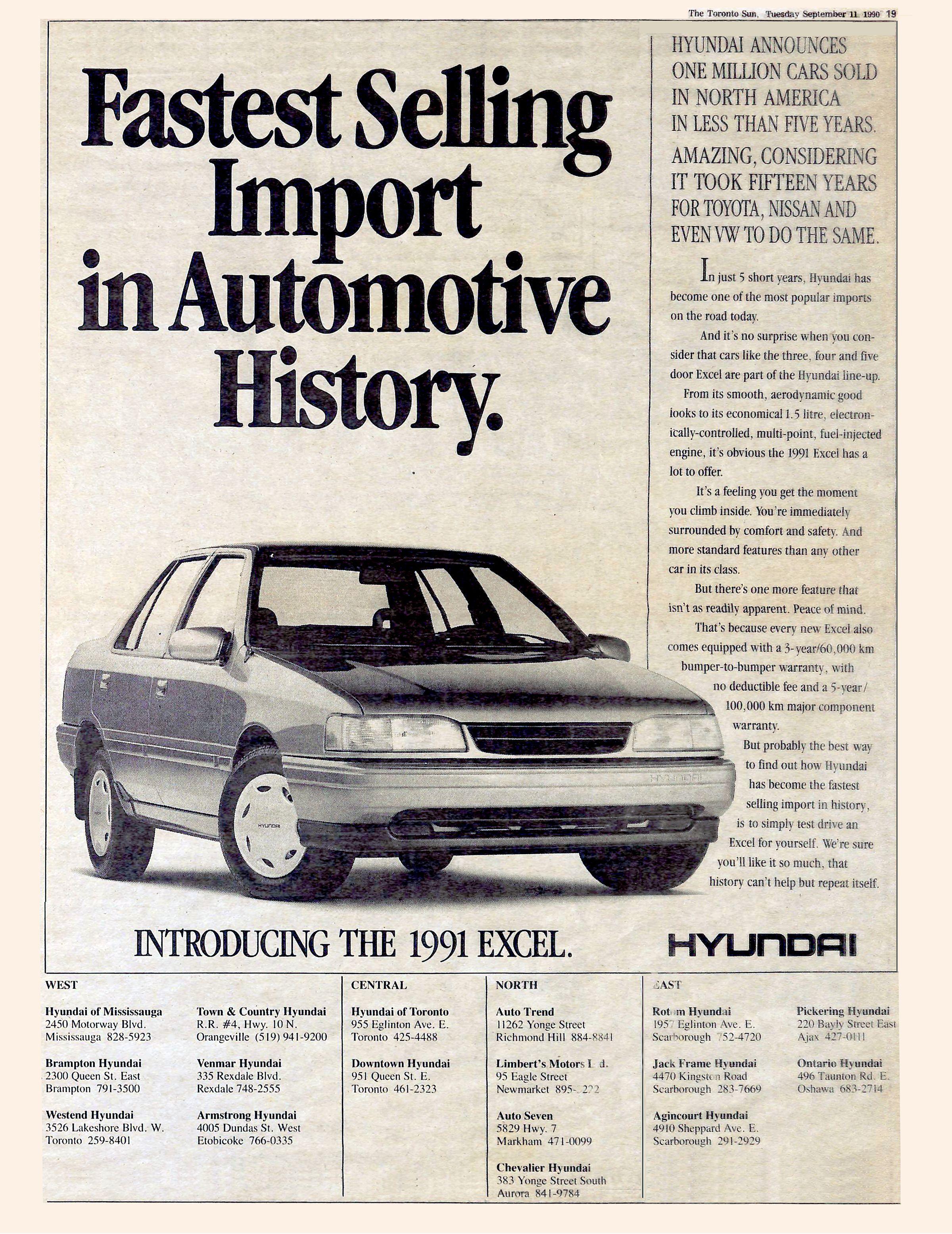 Hyundai Excel Newspaper Ad 1990 Agency Backer Spielvogel Bates