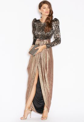 تسوق فستان باكمام طويلة ماركة لون برونز في الرياض وجدة Shimmer Dress Womens Dresses Dresses
