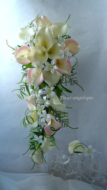 Peignes cheveux orchid e rose blanc pour mariage ou c r monie r f peigne007 - Bouquet de mariee artificiel original ...