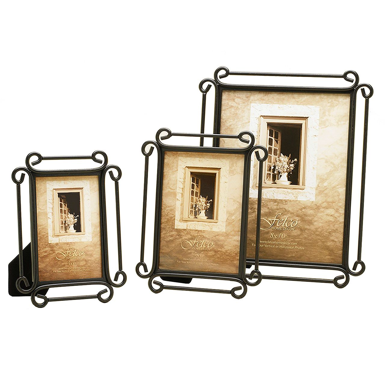 fetco home decor long wood triple frame rustic black | Villa ...