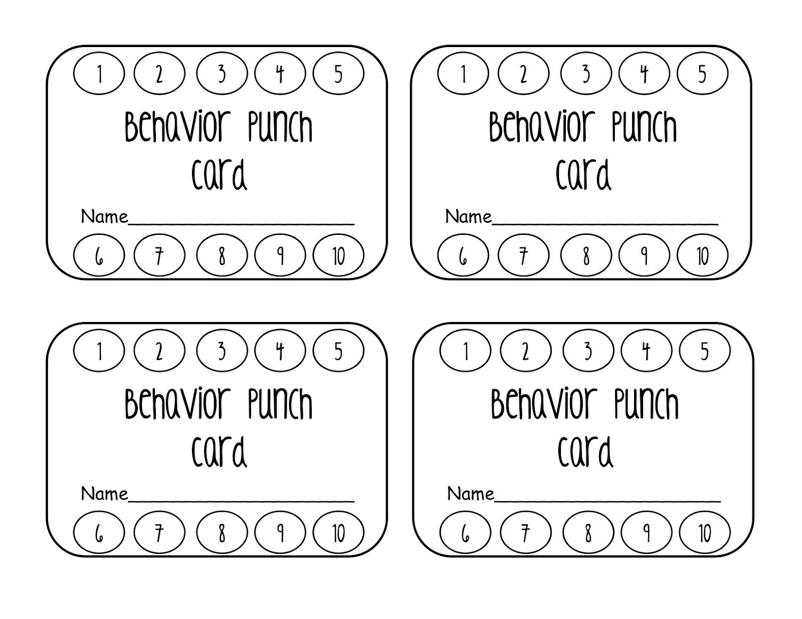 Classroom Freebies Behavior Punch Cards Punch Cards Classroom Freebies