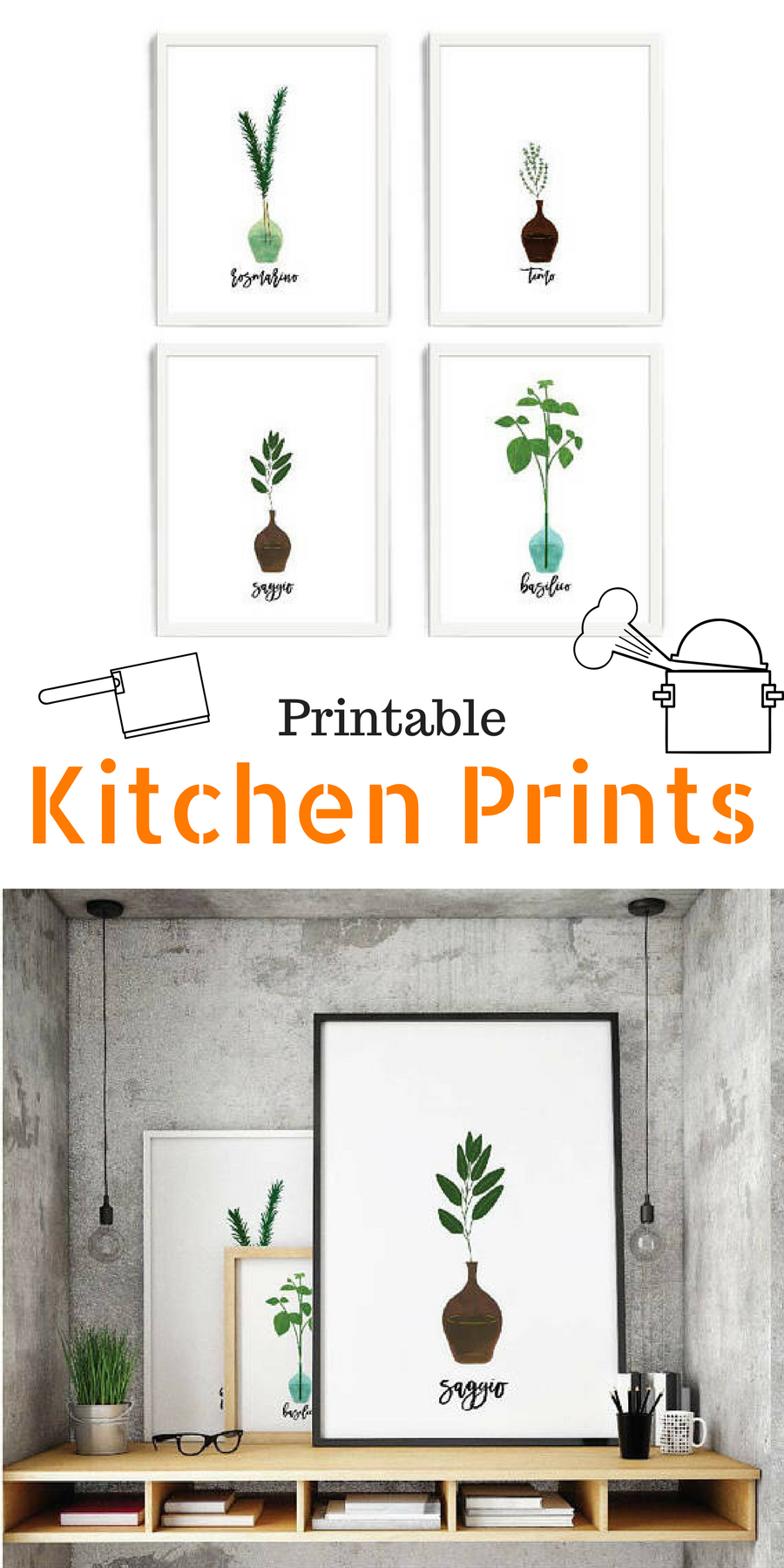 Cool minimalistic printable kitchen prints with Italian herbs. I ...