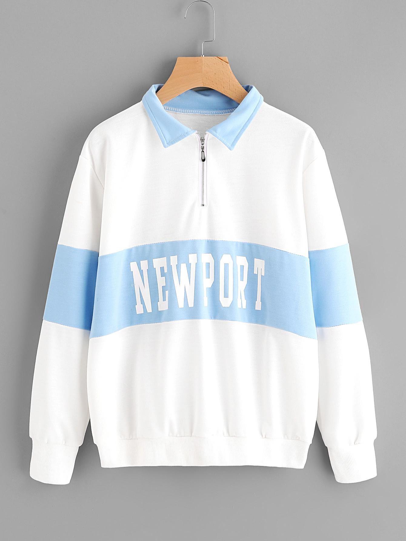 Color Block Letter Print Sweatshirt Block lettering Romwe and