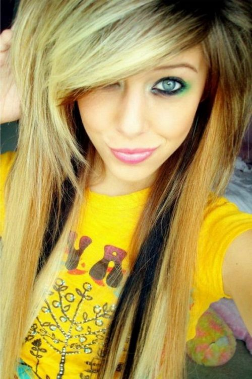 Girls Long Hair Color Emo Girl Hairstyles For Long Hair And Bangs