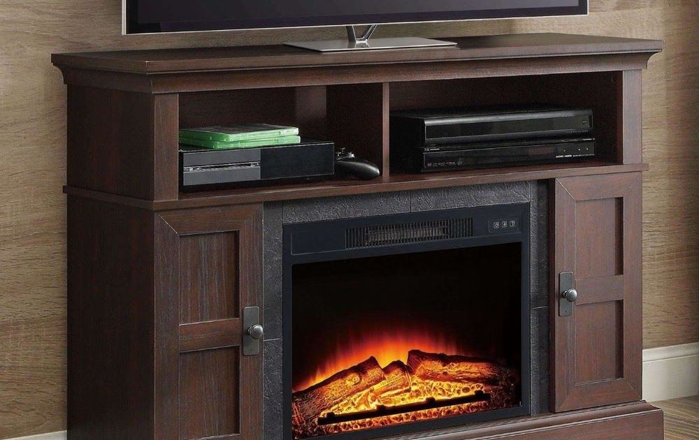 Tv Stand Entertainment Center Electric Fireplace Heater Remote Control Cherry