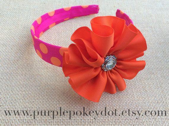 Fuchsia and Orange Polka Dot Fabric Covered Headband with Orange Jumble