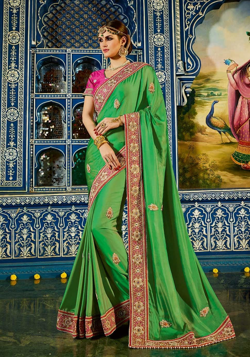 9790fcd3ec623a Green Art Silk Indian Wedding Reception Saree With contrast pink Embroidered  Blouse
