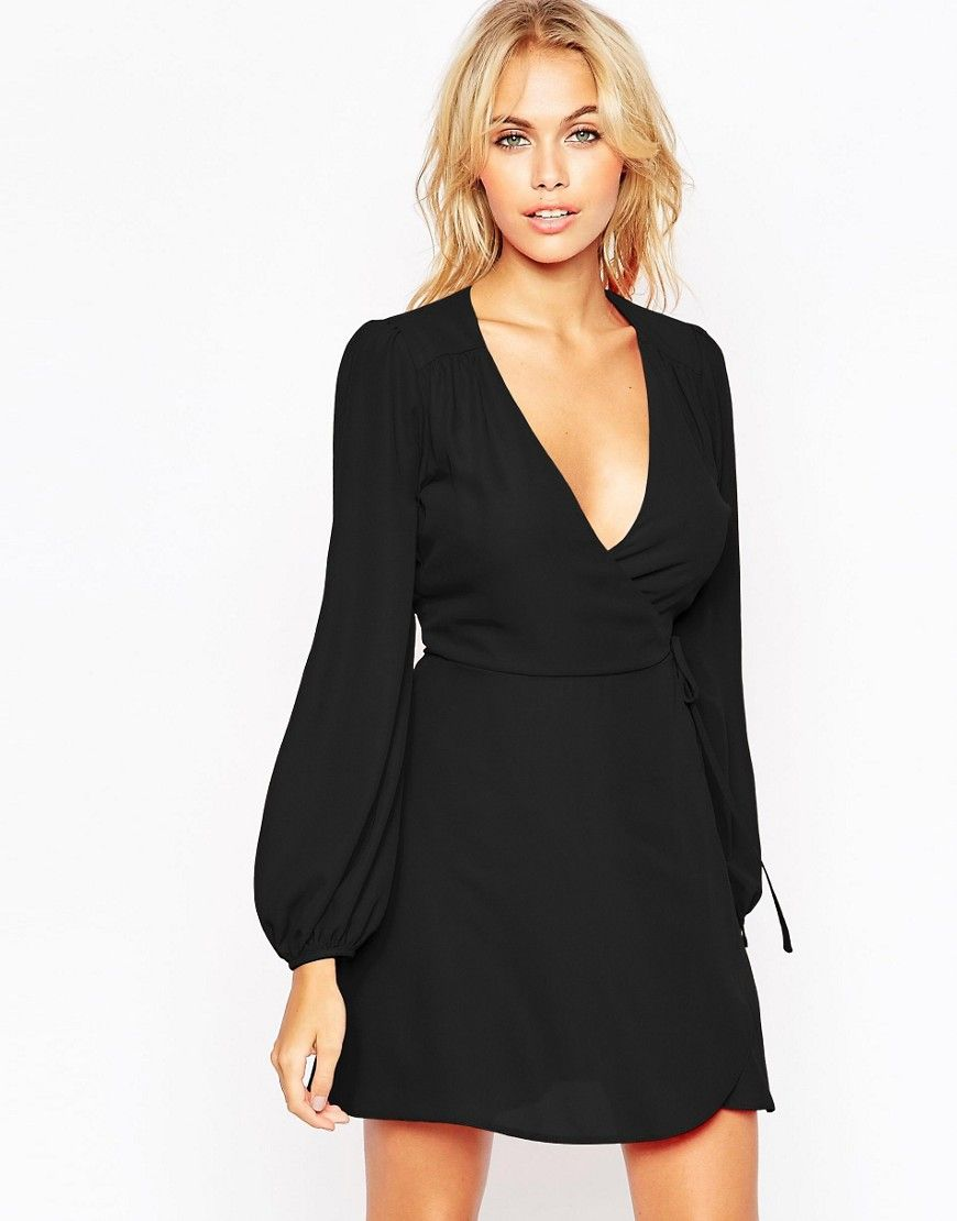 a46a805f1e9e Mini Wrap Dress with Blouson Sleeve | summer dresses | Dresses ...
