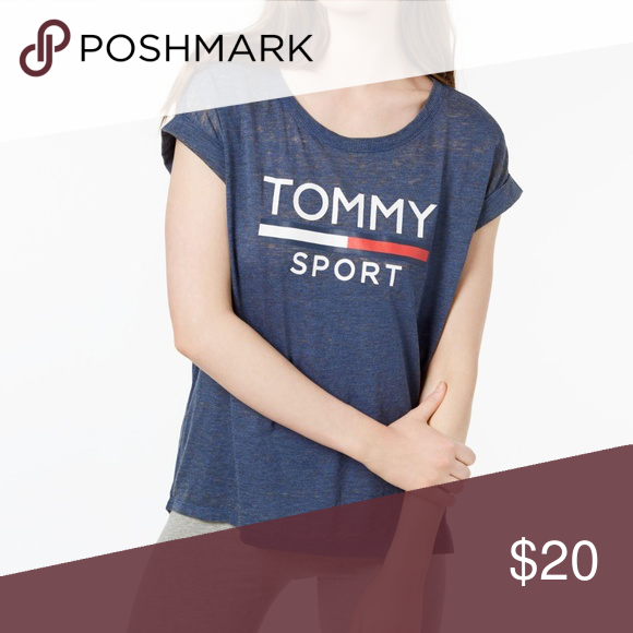 f6adb10e9cd38 Tommy Hilfiger Sport Logo Rolled-Sleeve T-Shirt Size  M Color Blue ...