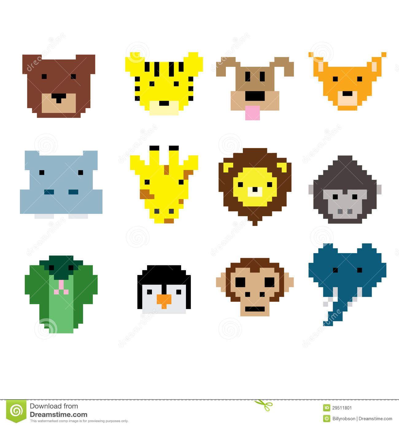 Pixel Art Animal Faces Pixel Art Art Cross Stitch Animals