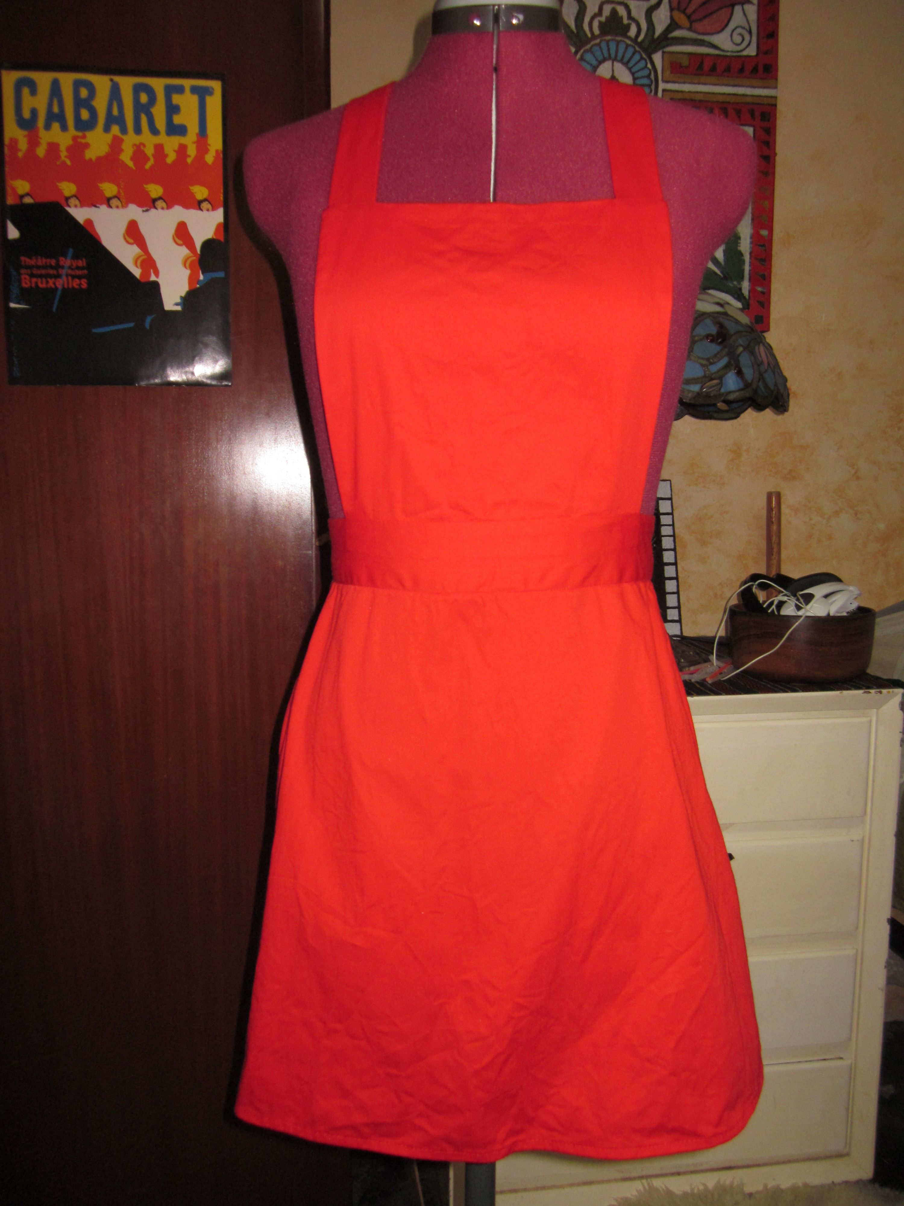 Red Cotton Spun Pinafore/Jumper. 8081 Simplicity. Quite a few adjustments made to pattern.