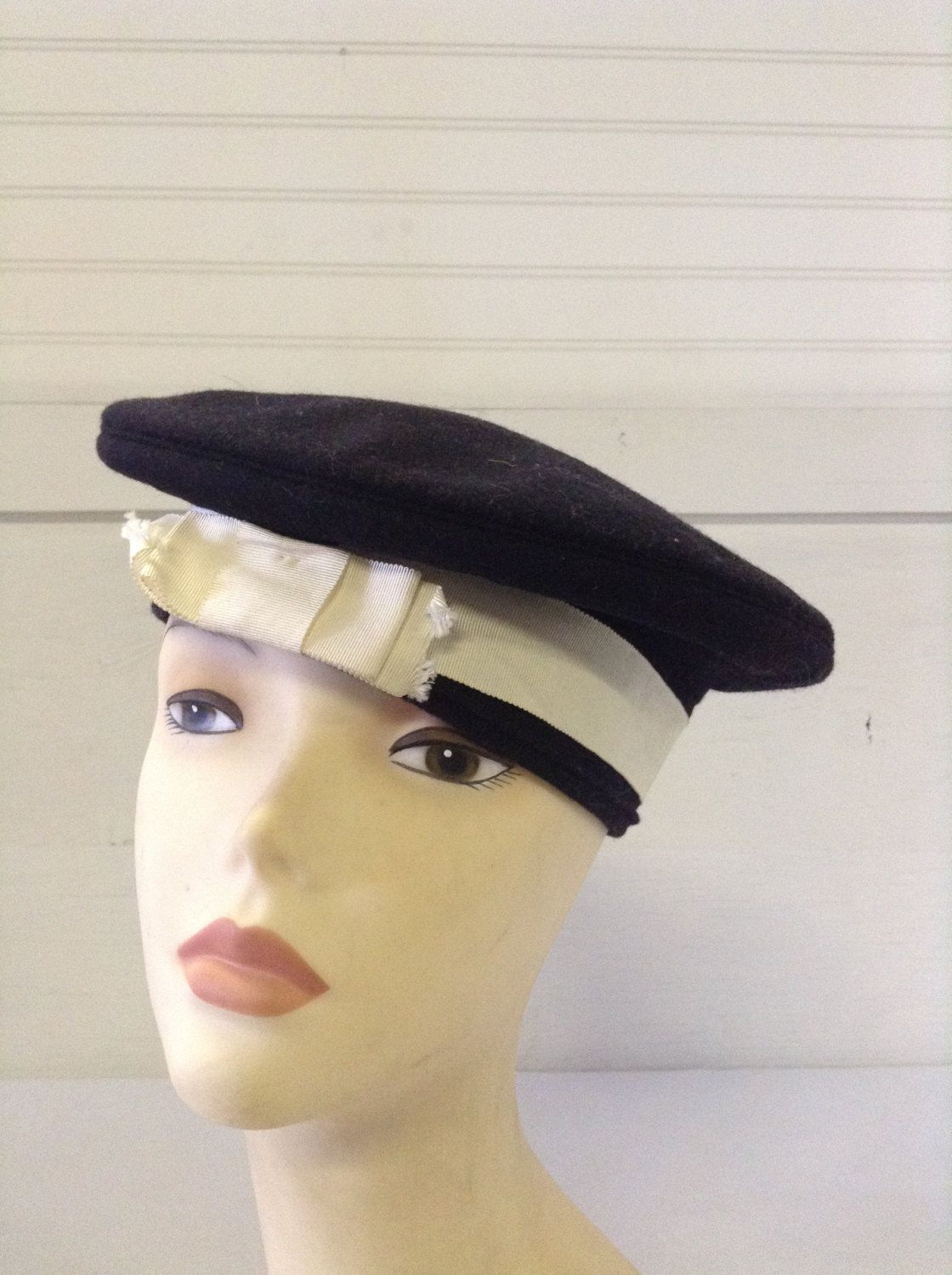 Vintage Women s Hats 1960 s Navy Blue Sailor Hat Cap Tam with White  Grograin Ribbon Band by ReEmporium on Etsy a9a398056b4