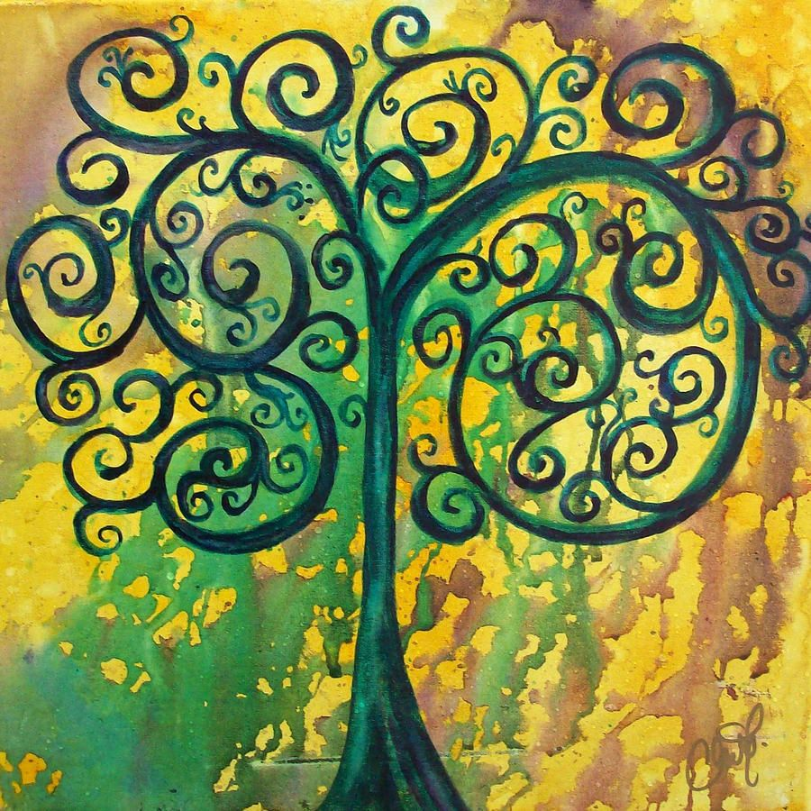 Tree Of Life - Yellow Green Painting | the next one | Pinterest ...