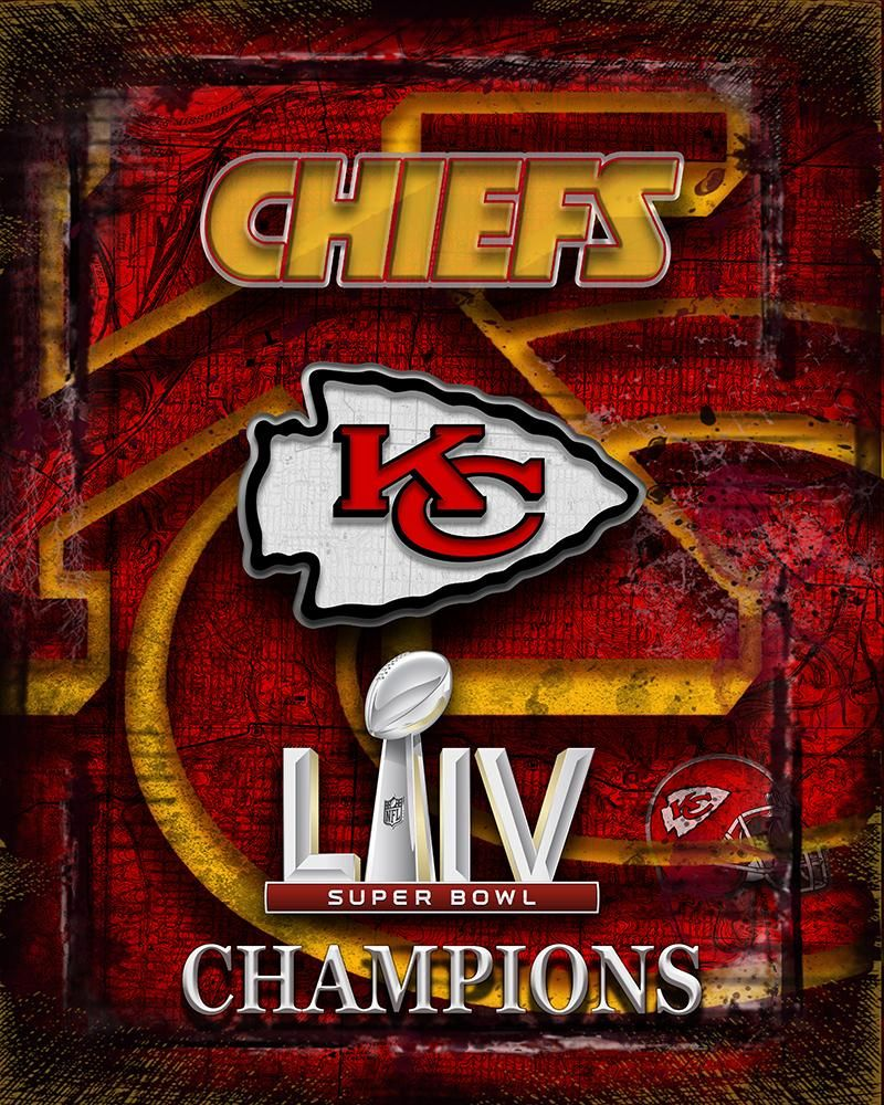 Kansas City Chiefs Super Bowl Championship Poster, Kansas City Chiefs Artwork Chiefs NFL Man Cave Gift