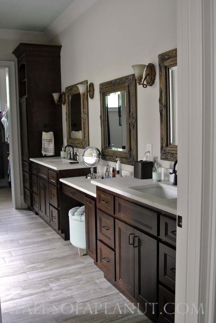 Bathroom Cabinets Espresso bathroom espresso cabinet, marble counter, oiled bronze fixtures