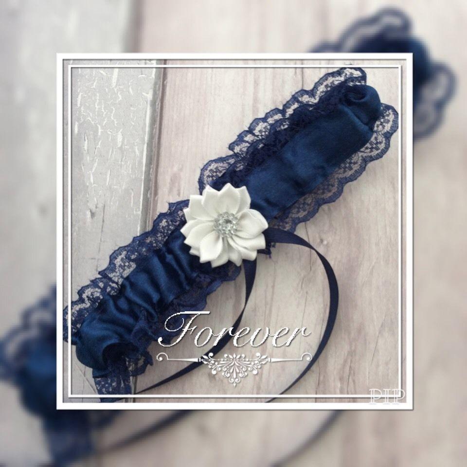 Blue Wedding Garter Uk: ️Prom Wedding Bridesmaids Garter Blue White Satin Flower
