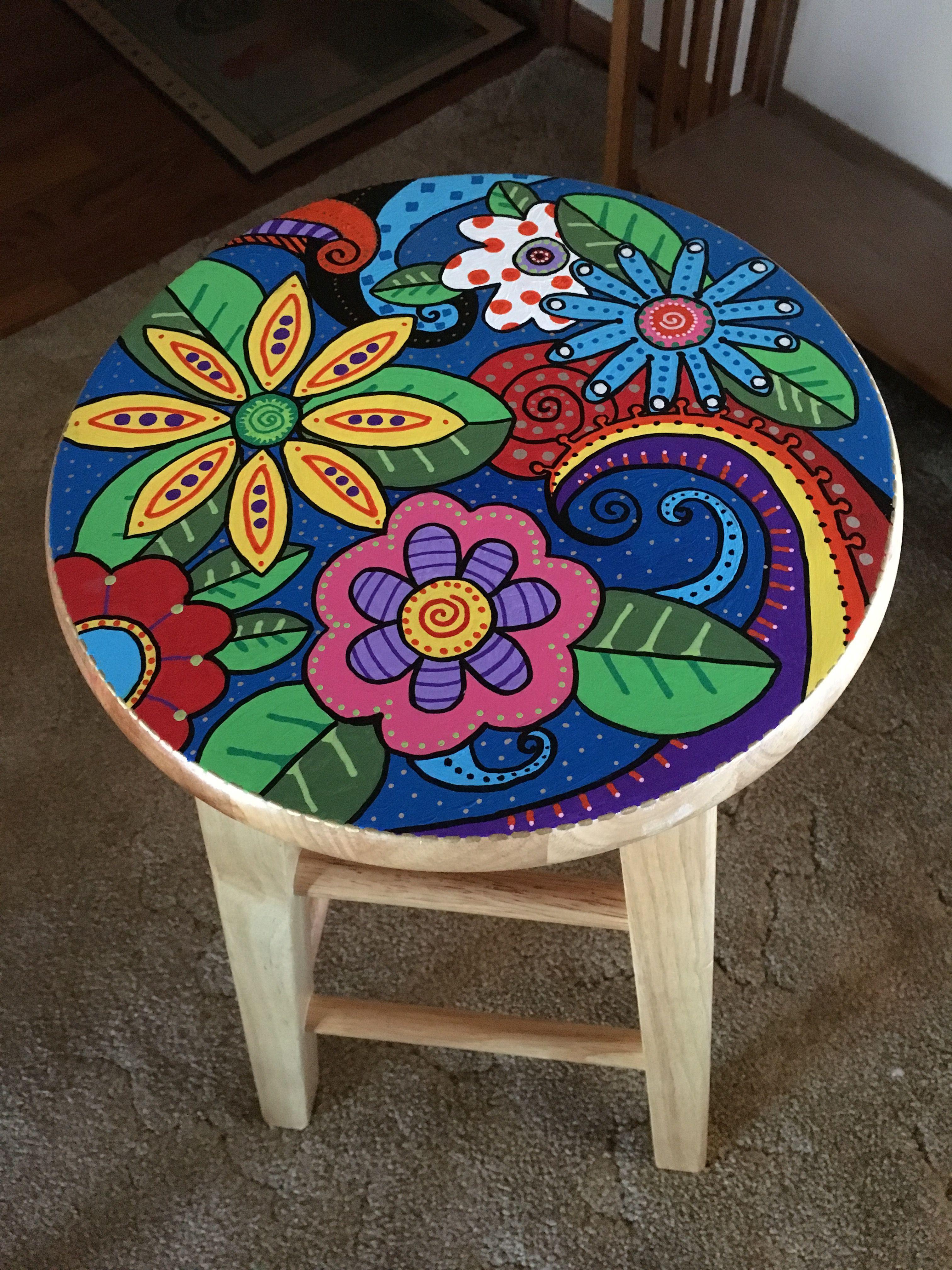 Painted Wooden Stool Acrylic Paint Taburetes Pintados Muebles