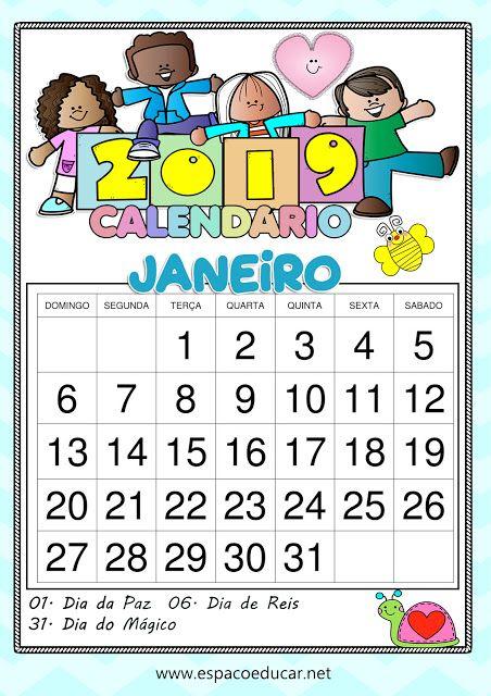 Calendario Janeiro De 2019 Lindo Para Imprimir Com Feriados E