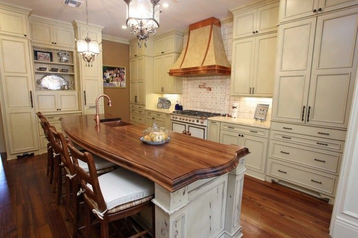 French Country Style Kitchen with White Gloss Kitchen Cabinets and