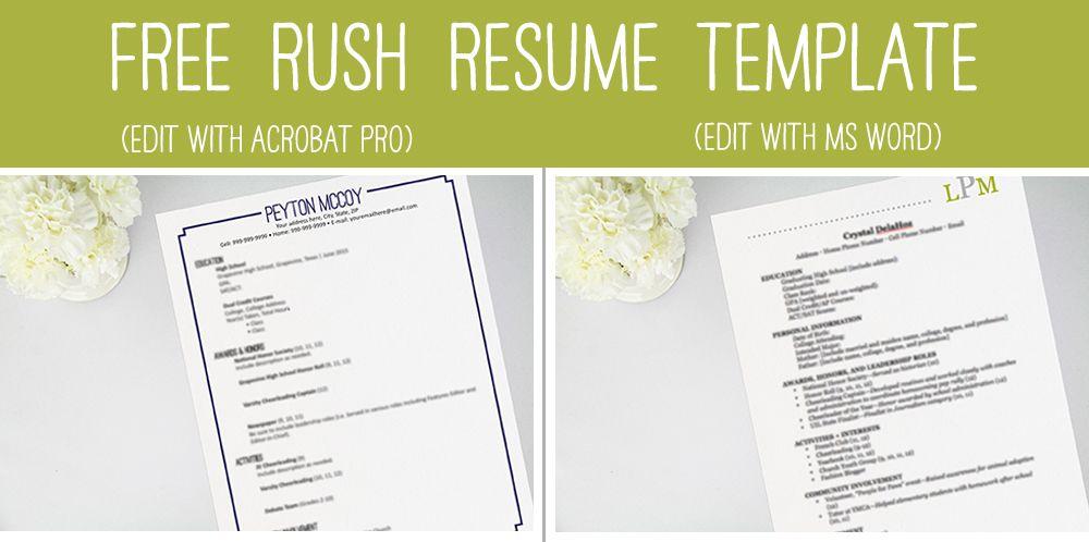 Rush 101 Perfecting Your Resume Sorority Resume Sorority Recommendation Letter Sorority