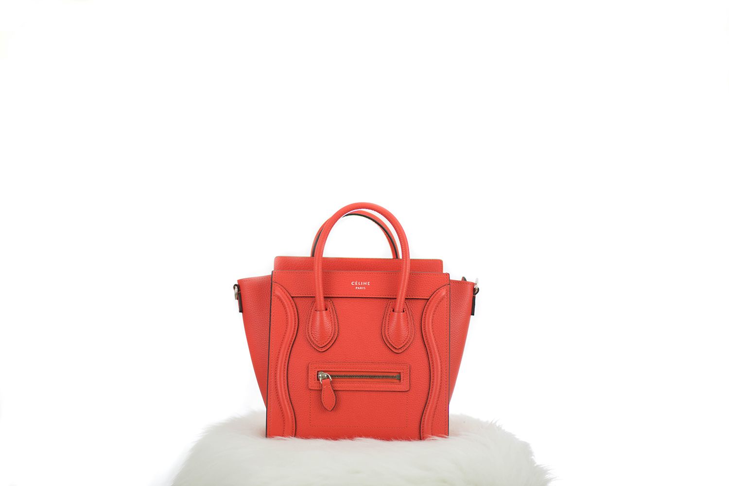 Céline Nano Luggage Vermillon / $2700