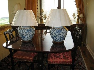 Nwt Pair Of 2 Ralph Lauren Blue White Chinoiserie Lamps
