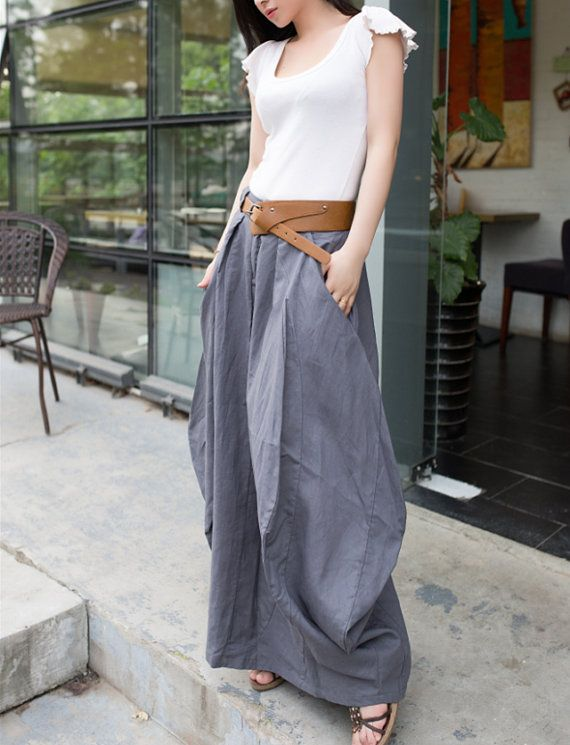 Plus Size Maxi Skirt Cool Baggy Grey Linen Skirt Summer Trendy ...