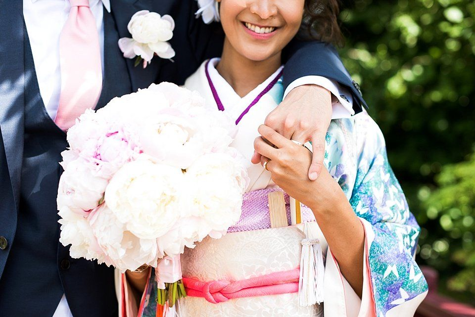 aad3e5f2d3c An elegant Roof Gardens wedding the bride wearing a beautiful Kimono by  Kimono De Go