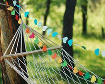 Set of 2 Garden decor garland  - Multi  color paper garland - wedding and party decoration  - Colorful heart garlands - set of 2 -