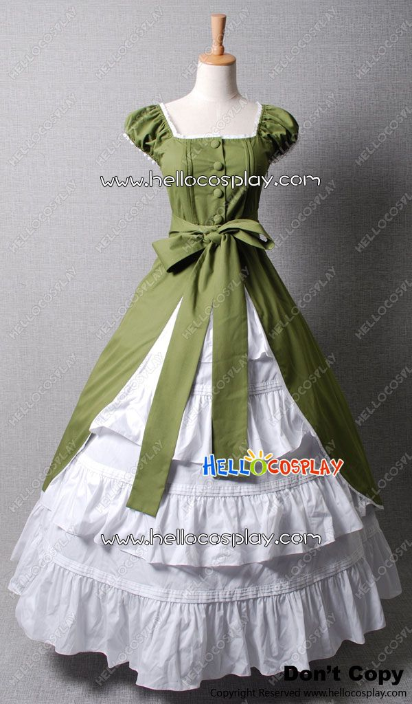 Colonial Cosplay Lolita Green Dress Ball Gown Prom New