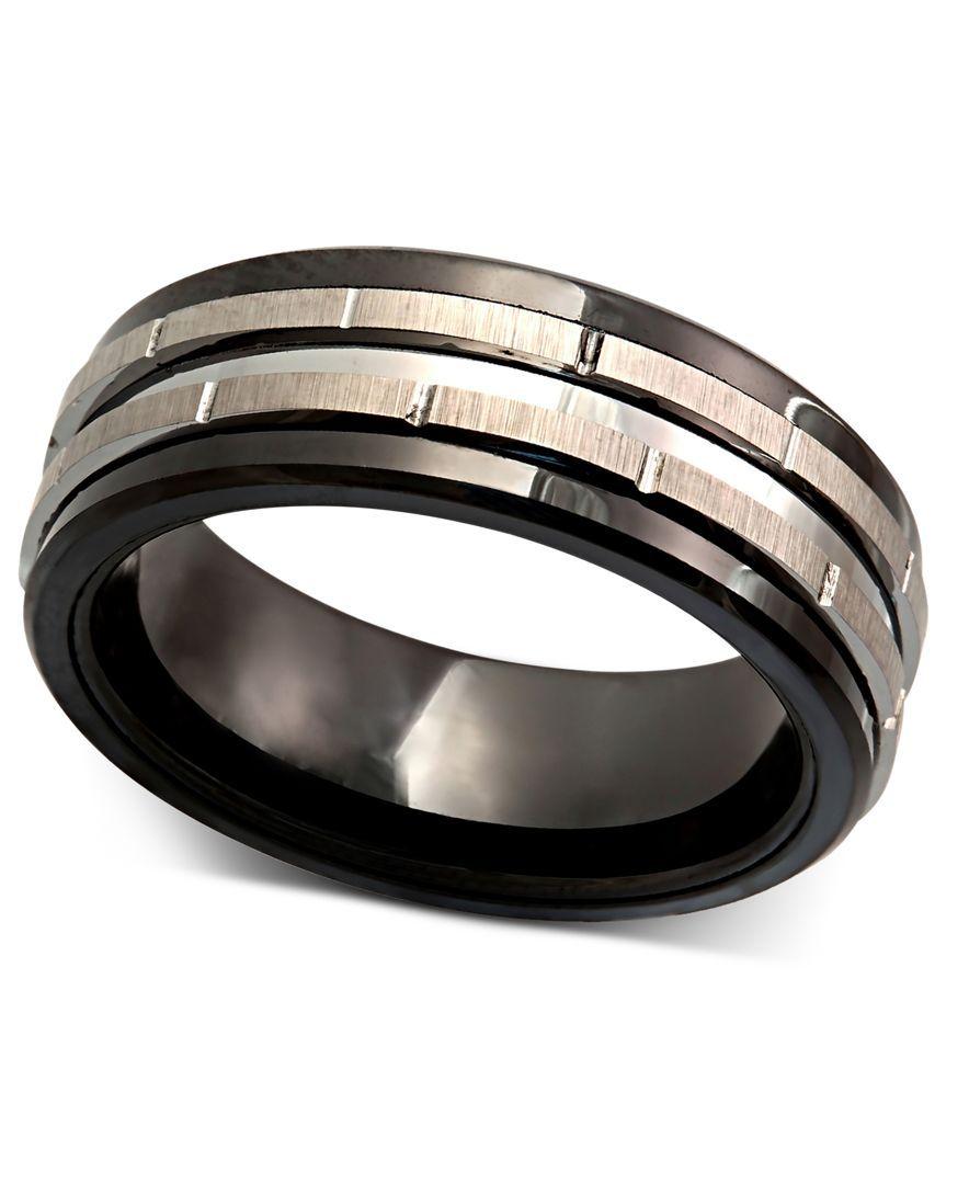 Men S Tungsten Ring Black Ceramic Tungsten Design Ring