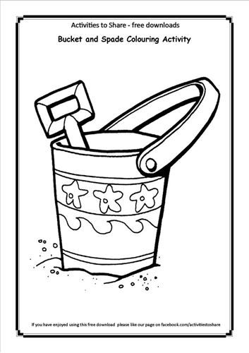 Bucket And Spade Colouring Activity Bucket And Spade Coloring