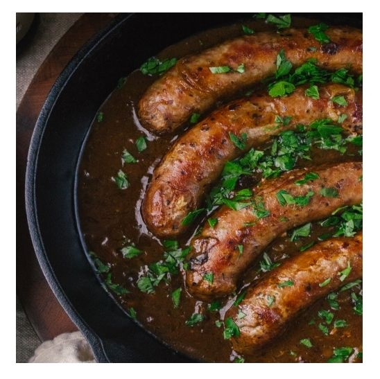 Slow-cooked Sausages In Gravy