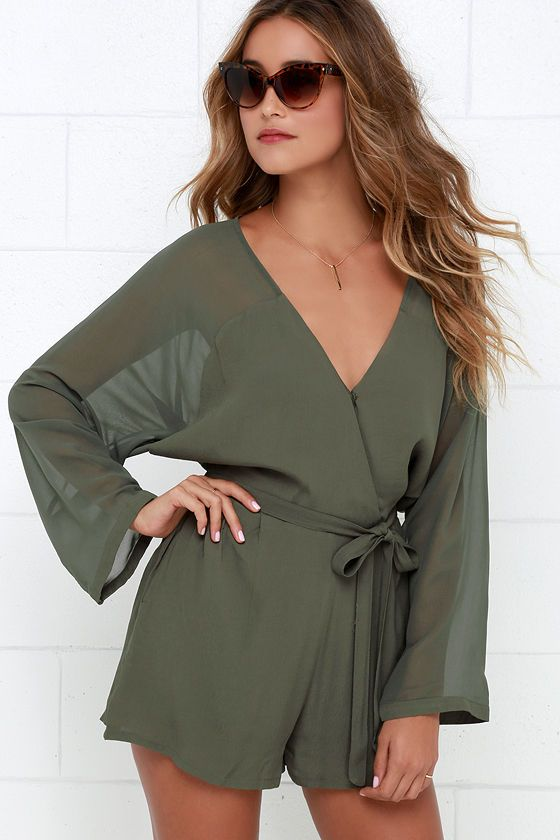 9c3cab9d8f0 Sheer Your Secrets Olive Green Romper at Lulus.com!