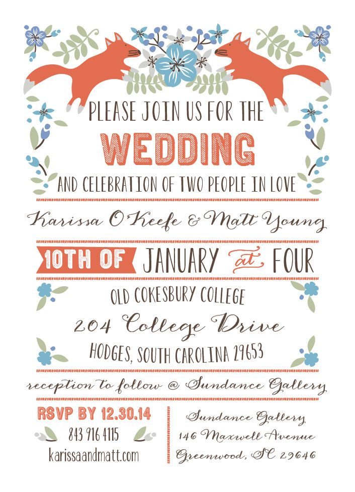 foxes wedding invitation - rough draft | Something Blue | Pinterest ...