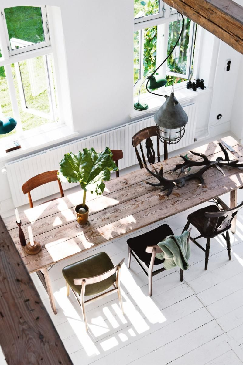 Dining Room: Long Rustic Timber Dining Table With Six Mismatched Vintage  Chairs, White Floorboards