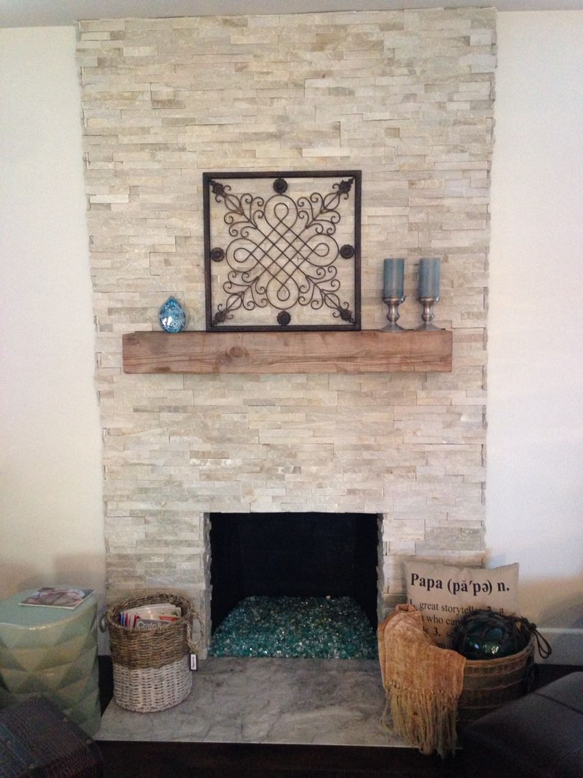 Bon Renovated Fireplace With Stone Veneer, Reclaimed Wood Mantle, Converted To  Gas With Fire Glass