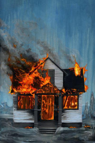 House On Fire By Famous When Dead Fire Painting Fire Art Unframed Art