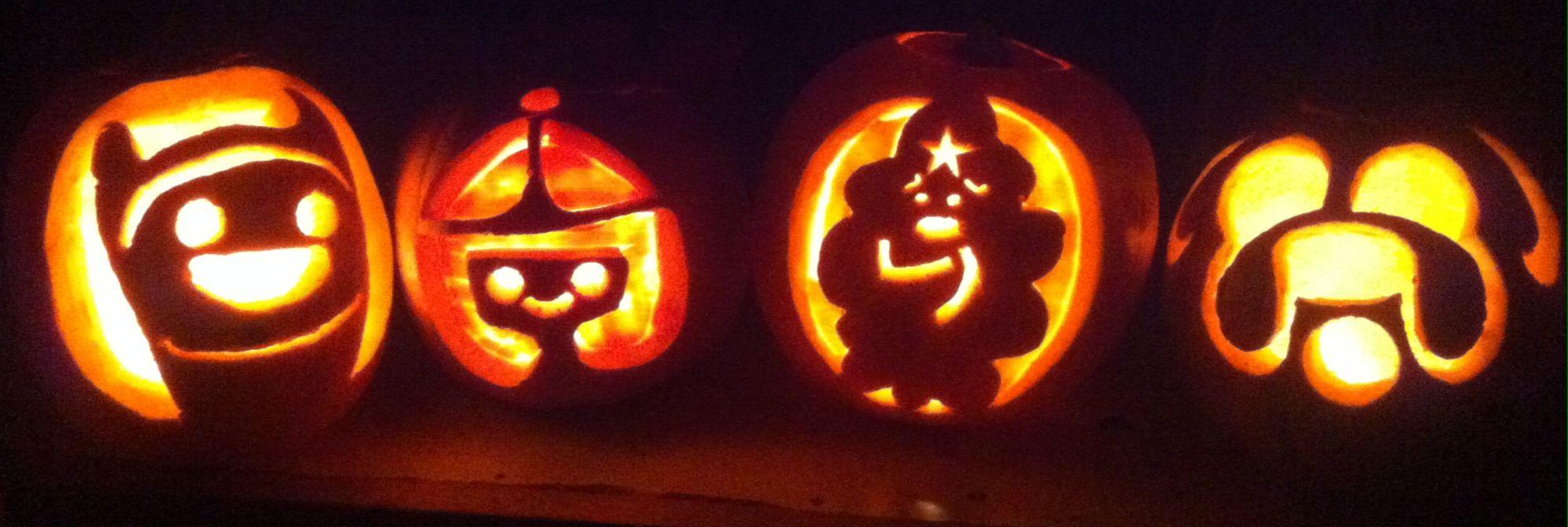 Adventure Time pumpkin carvings. Finn, Princess Bubblegum, Lumpy Space Princess and Jake