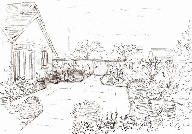 Simple Flower Garden Drawing