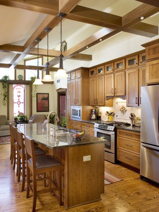 Kitchen Kitchens With Natural Cherry Cabinets And Granite ...